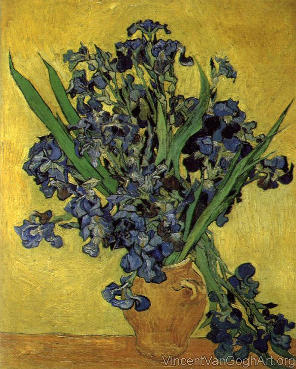 Vase with Violet Irises against a Yellow Background
