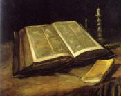 Still Life with Open Bible,Candlestick and Novel