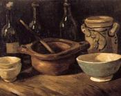 Still Life with Pottery and Three Bottles