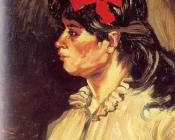 Portrait of a Woman with a Scarlet Bow in Her Hair