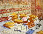 Piles of French Novels and a Glass with a Rose(Romans Parisiens)
